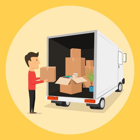 Se mueve con cajas. Las cajas con cosas. Compañía de transporte. Abrir caja. Obrero Ilustración de vector
