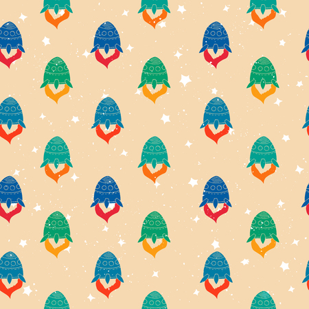 luna caricatura: Seamless pattern of hand drawn rockets. Space shuttle. Among the stars Vectores