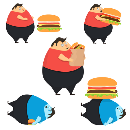 Set of fat people in state of hypnosis eat burger. Weak willpower. Dead man Çizim