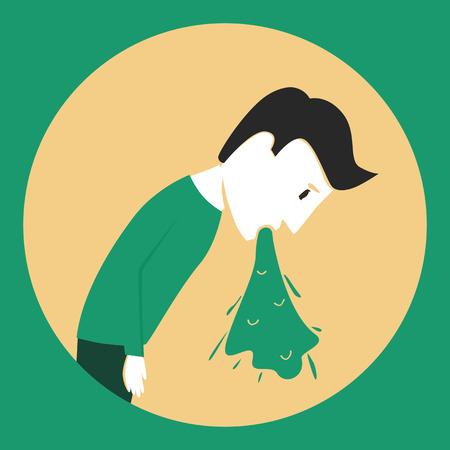 the hangover: Man puke. Bad feeling. Poisoning Illustration