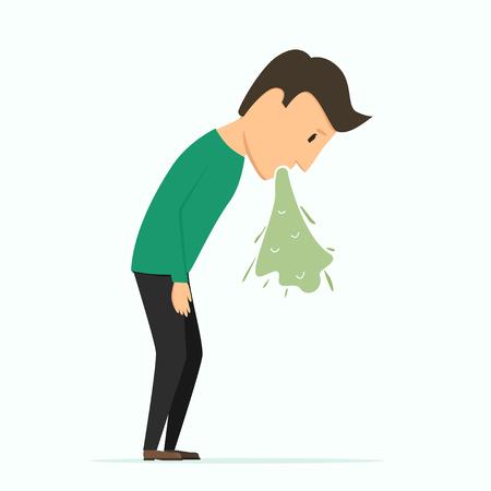 Man puke. Bad feeling, poisoning. Alcohol abuse Illustration