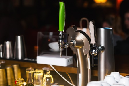 draught: Draught Beer in a Bar. Bar equipment