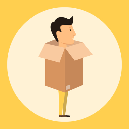 possession: Moving with boxes. Boxes with things. Transport company. Open box. Worker