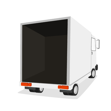 front loading: Truck for transportation cargo. Isolated on white background