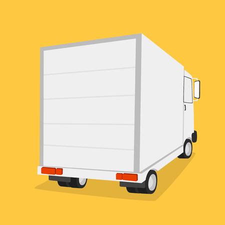 Truck for transportation cargo. Isolated on yellow background