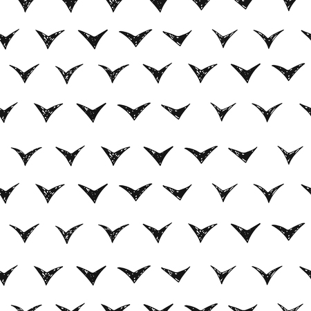 Seamless pattern - flying birds. Black ink. Hand drawn