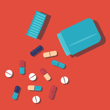 handful: Handful of pills fallen out of the bottle. Pile of medicines. Help with pain Illustration
