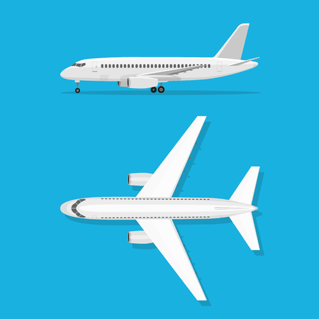 airplane: White airplane on isolated background. Aircraft is on the ground. Airliner. View from above and side. The objects for brochure Illustration