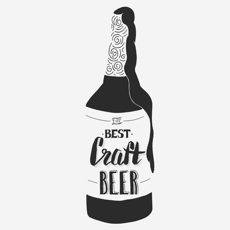 crafted: Vintage craft beer brewery design. Vector typography illustration. Hand drawn typography poster Illustration