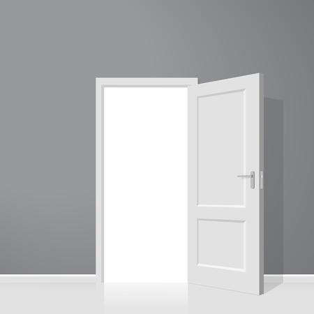 Open door. Realistic illustration. Wooden door  イラスト・ベクター素材