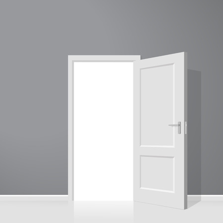 room door: Open door. Realistic illustration. Wooden door Illustration