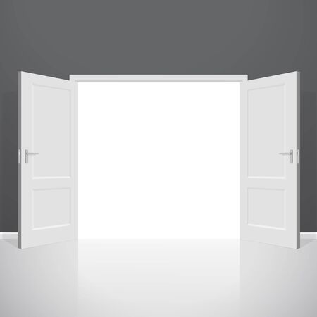 go inside: Open doors. Realistic illustration. Wooden door