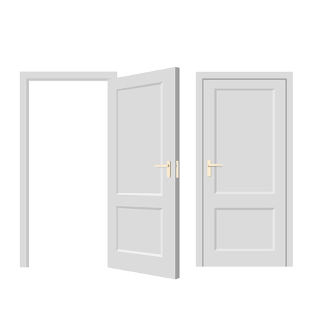 go inside: Isolated objects. Open door. Close door. Realistic vector illustration. Wooden door Illustration