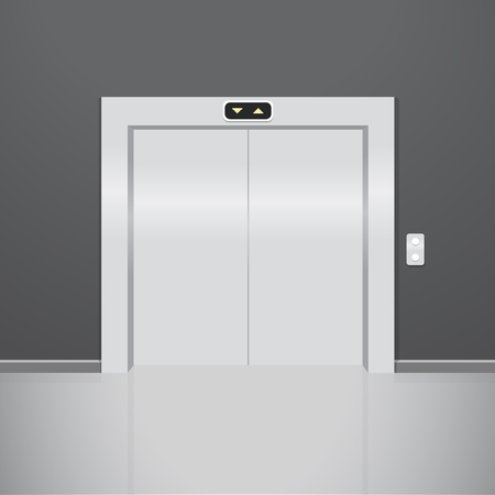go inside: Close elevator. Realistic vector illustration. Metal lift Illustration