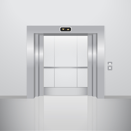 go inside: Open elevator. Realistic vector illustration. Metal lift Illustration