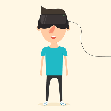 futurity: Man with glasses of virtual reality. The future has arrived. Cartoon style. Flat design. Vector illustration Illustration