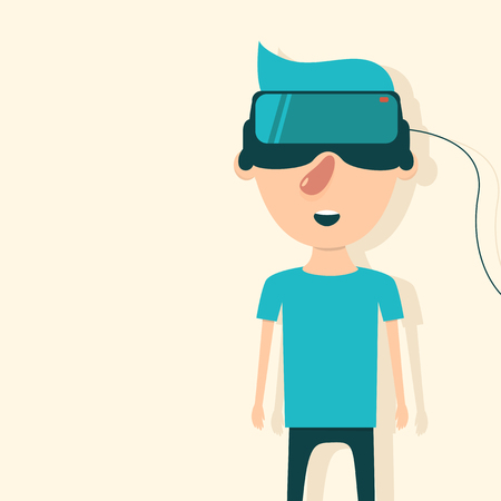 Man with glasses of virtual reality. The future has arrived. Cartoon style. Flat design. Vector illustration Illustration