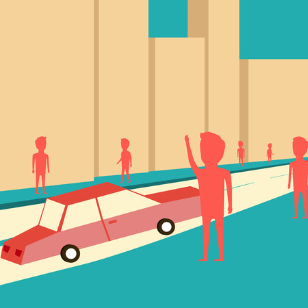 burg: Man want to catch a taxi. Waiting for the car. Cartoon design Illustration