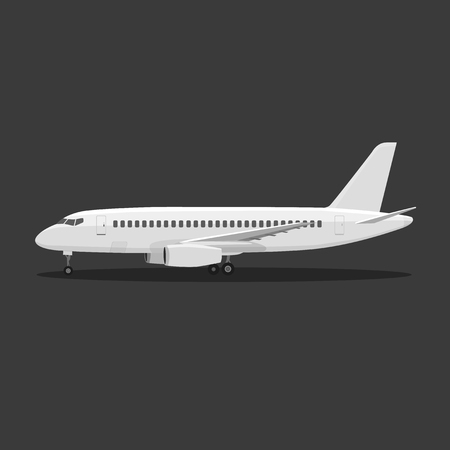 airliner: White airplane on isolated background. Aircraft is on the ground. Airliner