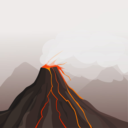 natural forces: Volcano eruption. Flowing lava. Cartoon style. Vector illustration