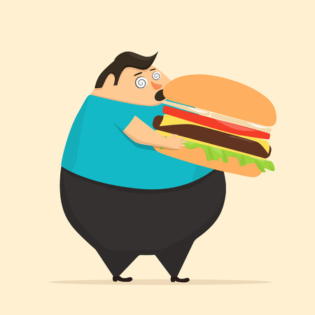Fat man in state of hypnosis eat burger. Weak willpower