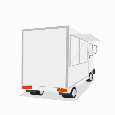 front loading: Van ice cream. Gamburger truck. Shop on wheels. Vector illustration. Isolated on white background Illustration