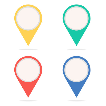 Set of round map pointers. Icon points. Point of location. Web sign. Navigation marker