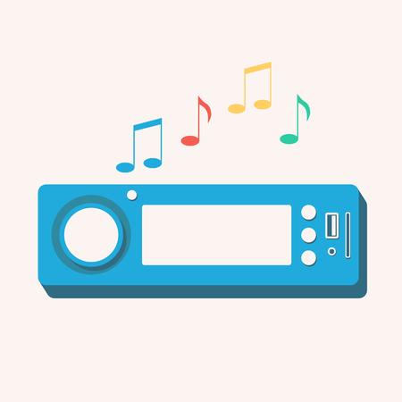 Autoradio. Geïsoleerde icoon. Vector illustratie. Plat ontwerp. Auto geluid
