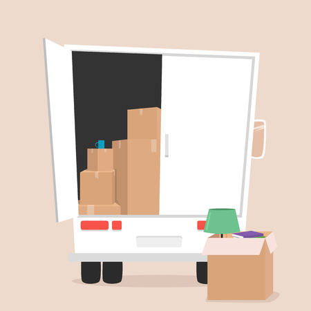 Moving with boxes. Boxes with things. Transport company. Open box. Moving service. Moving van. Moving truck