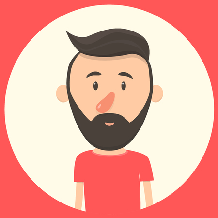 middle aged: Hipster character. Cartoon vector illustration. Trendy man. Face of man. Caucasian, middle aged man