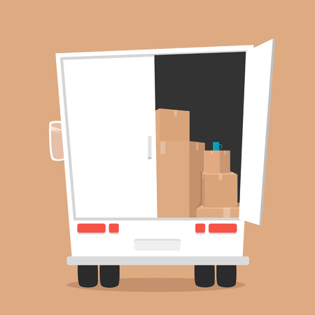 moving box: Moving with boxes. Boxes with things. Transport company. Open box. Moving service. Moving van. Moving truck