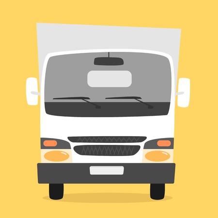 moving van: Cargo truck. Cartoon vector illustration. Moving van. Moving truck. Isolated on yellow background. Cartoon truck. White truck. Delivery of cargo