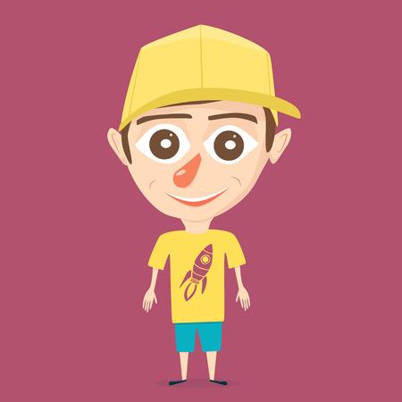 baseball cartoon: Cartoon boy. Vector illustration. Isolated background. Happy boy. Beauty teenager. Bright design. Boy character
