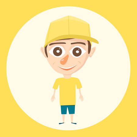 young schoolchild: Cartoon boy. Vector illustration. Isolated background. Happy boy. Beauty teenager. Bright design. Boy character