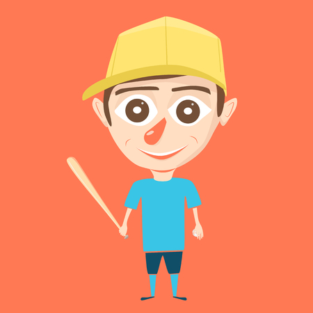 baseman: Boy character. Little ballplayer. Cartoon vector illustration. Boy on isolated background. Sport game. Baseball player
