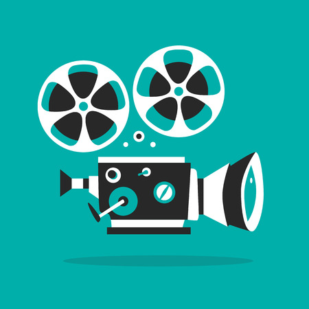 motion picture: Retro movie projector poster. Cartoon vector illustration. Cinema motion picture. Film projector with film reels Illustration