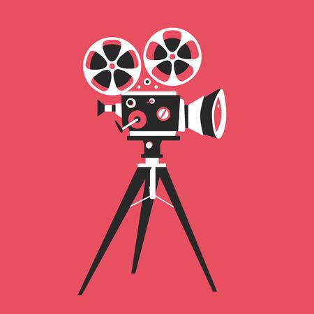 camara de cine: cartel retro proyector de películas. ilustración vectorial de dibujos animados. Cine de imágenes en movimiento. Proyector de película con rollos de película Vectores