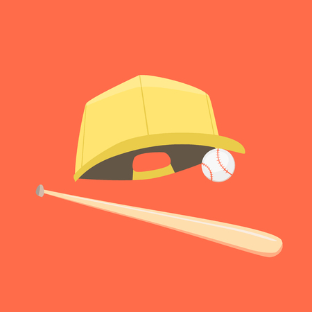 baseman: Baseball cap, ball and bat isolated on orange background. Vector illustration. Cartoon flat style