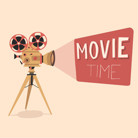 Retro movie projector poster. Cartoon vector illustration. Cinema motion picture. Film projector with film reels. Hand drawn lettering. Movie time poster.
