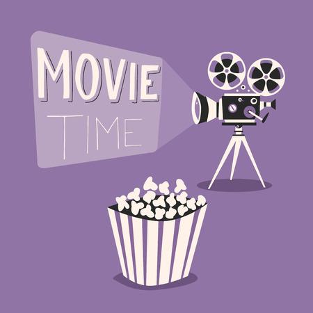 camara de cine: cartel retro proyector de películas. ilustración vectorial de dibujos animados. Cine de imágenes en movimiento. Proyector de película con rollos de película. Dibujado a mano las letras. Póster de la película tiempo. Cine y palomitas Vectores