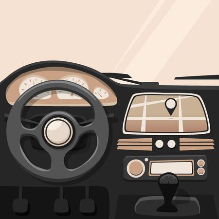 車内。内側の車。ベクトル漫画のイラスト。車のポスター。漫画のスタイル。ホイールの後ろにドライバー  イラスト・ベクター素材