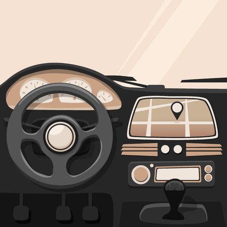 safety device: Vehicle interior. Inside car. Vector cartoon illustration. Car poster. Cartoon style. Driver behind the wheel
