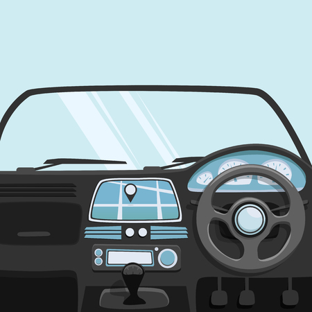 Vehicle interior. Inside car. Vector cartoon illustration. Car poster. Cartoon style. Driver behind the wheel