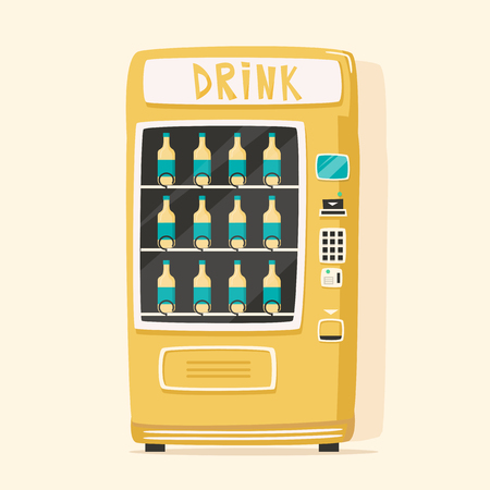traction: Vintage vending machine with drinks. Retro cartoon style. Vector illustration. Isolated background. Purchase of clean water. Drinking water