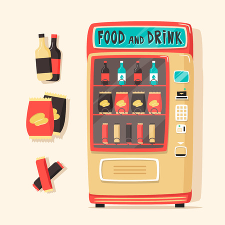 Vintage vending machine with food and drinks. Retro cartoon style. Vector illustration. Isolated background. Purchase of clean water. Drinking water Çizim