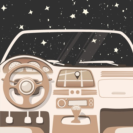 geolocation: Vehicle interior. Inside car. Vector cartoon illustration. Car poster. Cartoon style. Driver behind the wheel