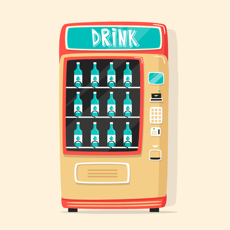healt: Vintage vending machine with drinks. Retro cartoon style. Vector illustration. Isolated background. Purchase of clean water. Drinking water