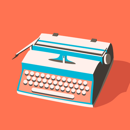 editorial design: Vintage typewriter. Vector illustration. Isolated background. writing text. Typography. Writer tool. Retro manual typewriter