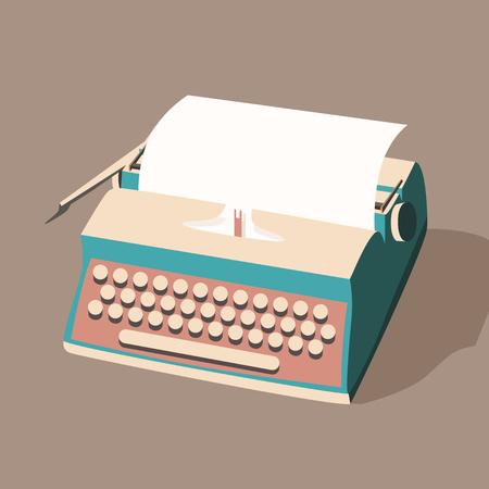 writer: Vintage typewriter. Vector illustration. Isolated background. writing text. Typography. Writer tool. Retro manual typewriter