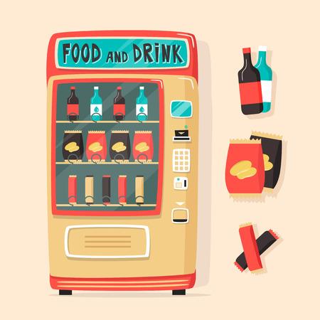 Vintage automaat met eten en drinken. Retro cartoon stijl. Vector illustratie. Geïsoleerde achtergrond. Aankoop van schoon water. Drinkwater